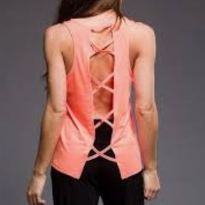 Onzie Criss Cross Scoop Neck Tank in Melon